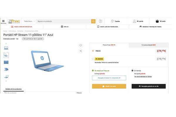 la diferencia de precio de un porttil en dos tiendas online puede superar hasta el 65
