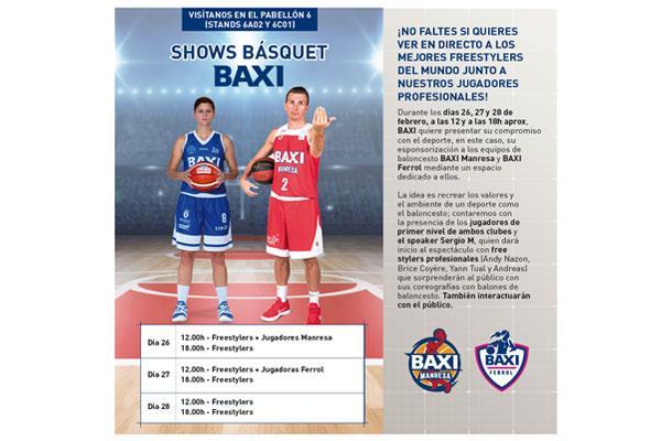 baxi anima la feria campr con jugadores del baxi manresa del baxi ferrol y freestylers de baloncesto