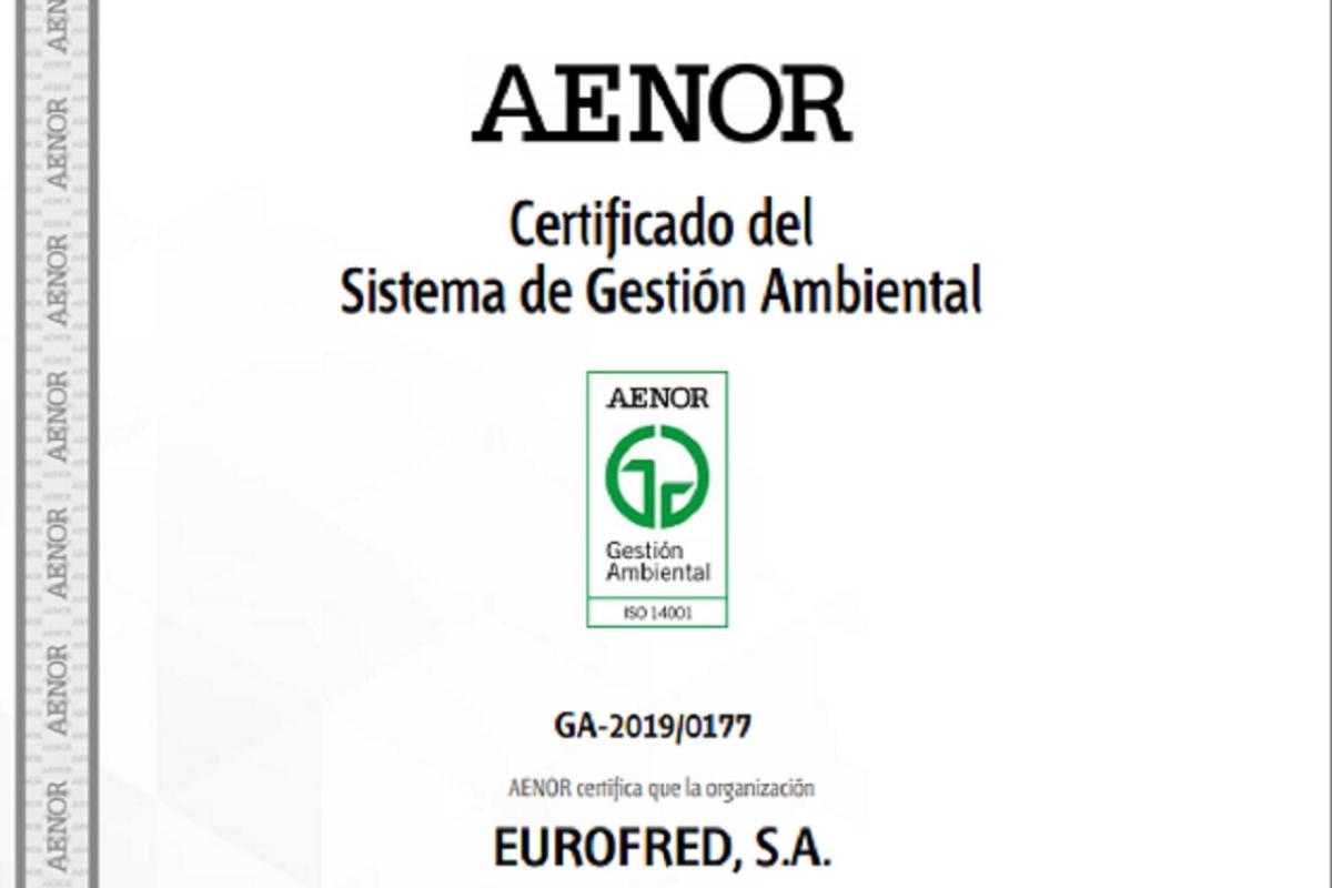 eurofred obtiene el certificado iso 14001 de sistema de gestin medioambiental