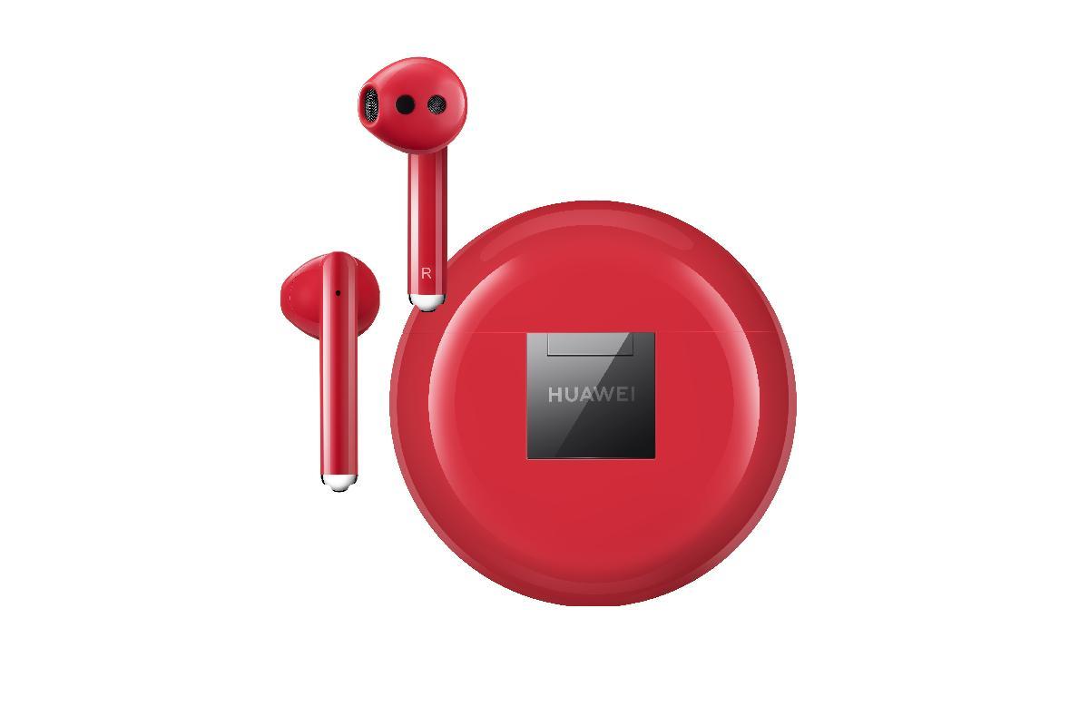 siente el poder del rojo con los auriculares huawei freebuds 3