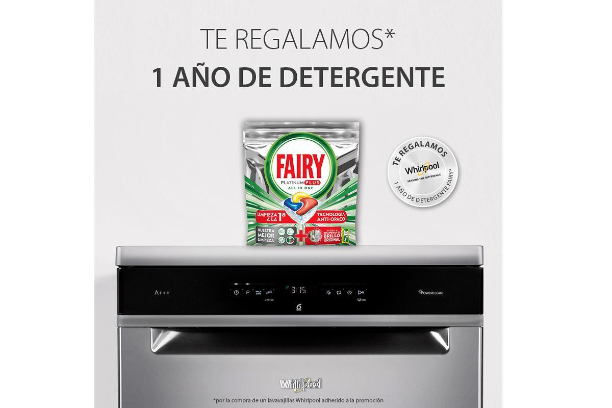 un ao gratis de detergente fairy con los lavavajillas power clean de whirlpool