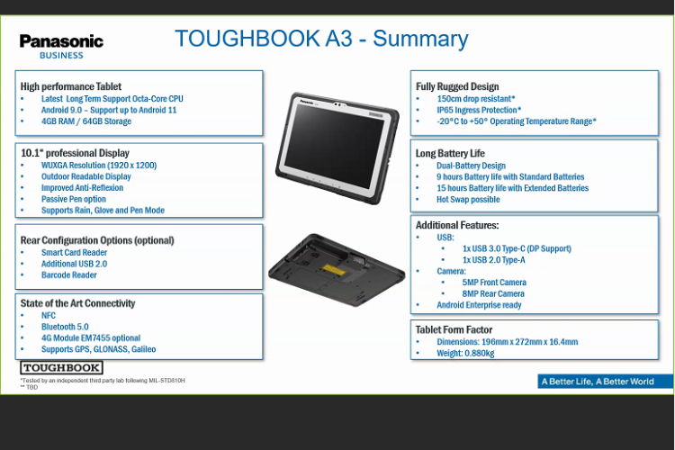 panasonic toughbook fortalece su gama de android con su robusta tablet a3