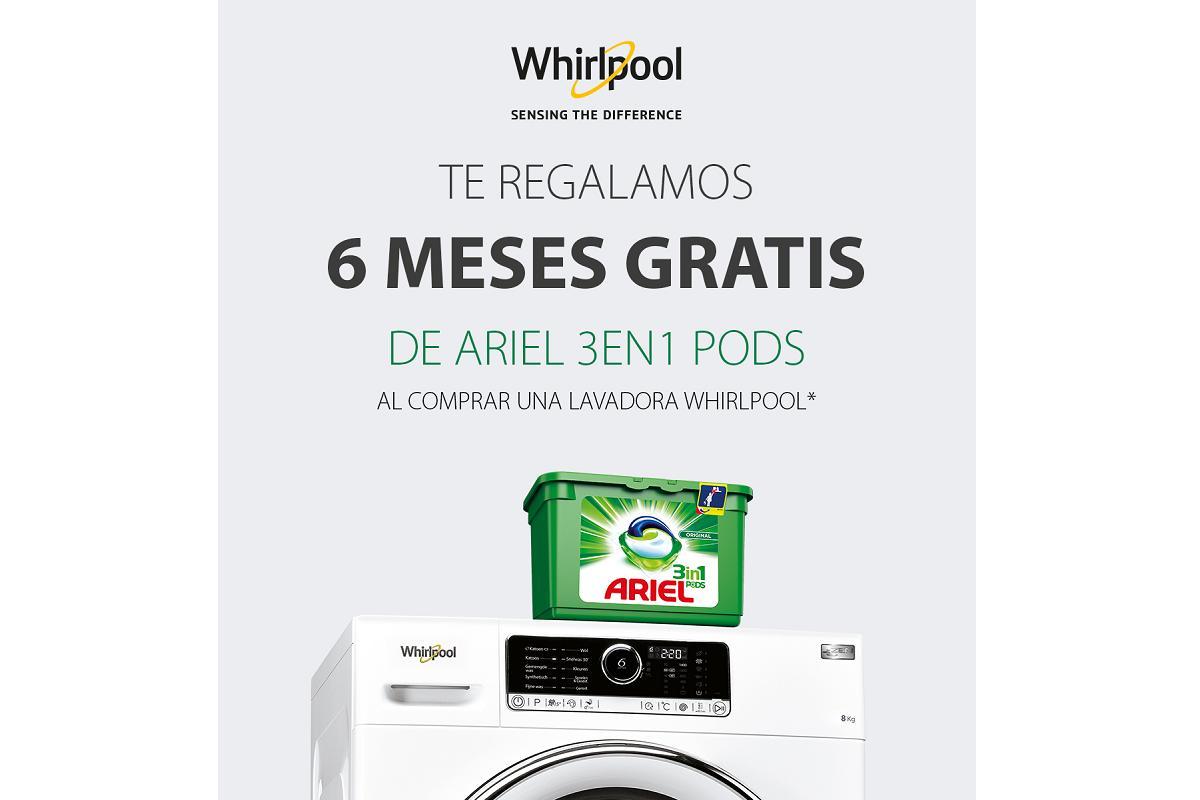 seis meses de detergente ariel con las lavadoras y lavasecadoras de whirlpool