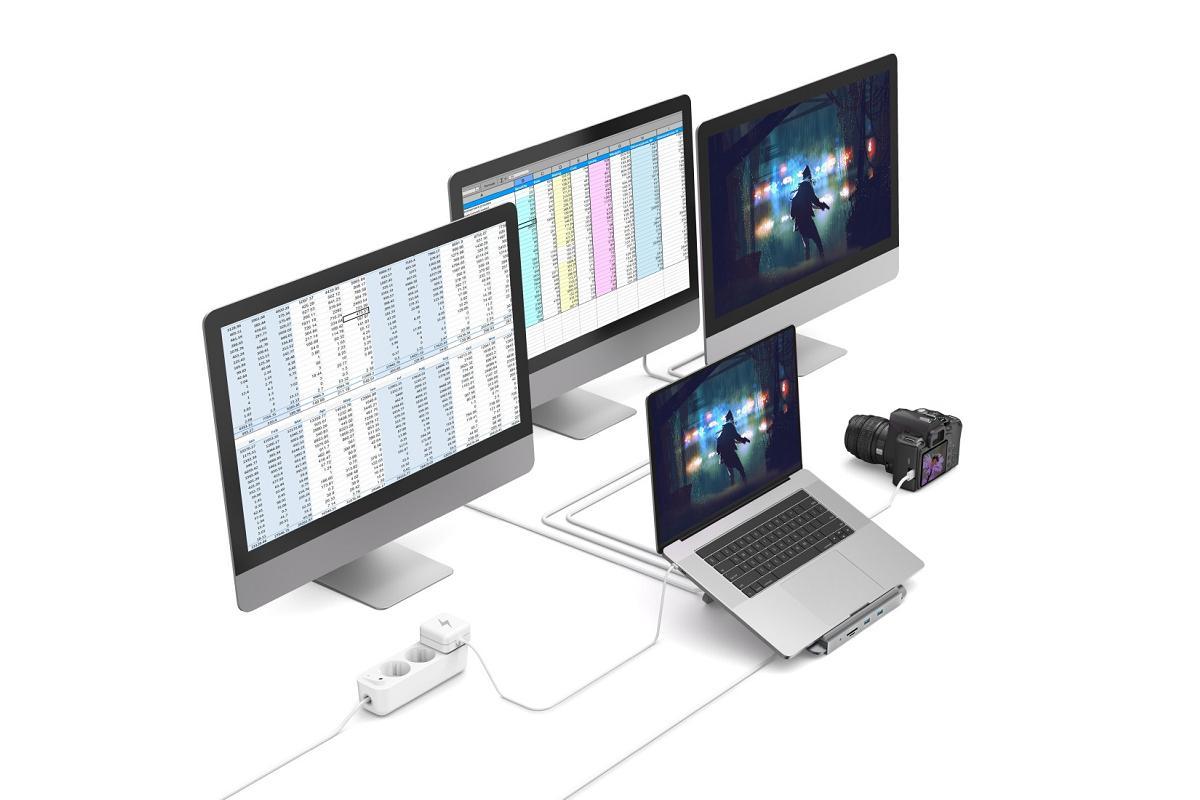 conecta dispositivos en simultneo con docking station 12 en 1 de hama