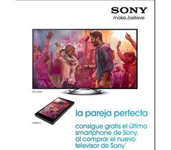 oferta de sony para conseguir gratis un smartphone xperia al comprar un nuevo tv bravia