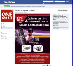 one for all inaugura su facebook promocionando el smart control motion