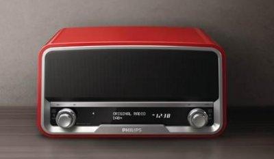 philips ampla su gama de original radio con un modelo color rojo y con bluetooth