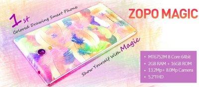 zopo presenta magic un smartphone coloreado con dibujos